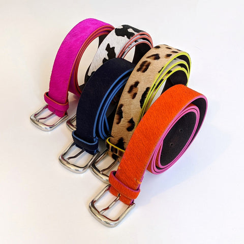 Image of Luxury Italian Hot Pink Leather Belt