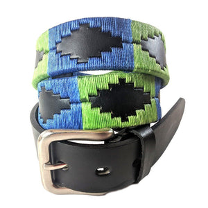 Argentinian embroidered bridle leather Polo belt in black leather with royal blue & lime