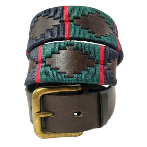 Argentinian embroidered bridle leather Polo belt in brown leather with navy, dark green & red stripe