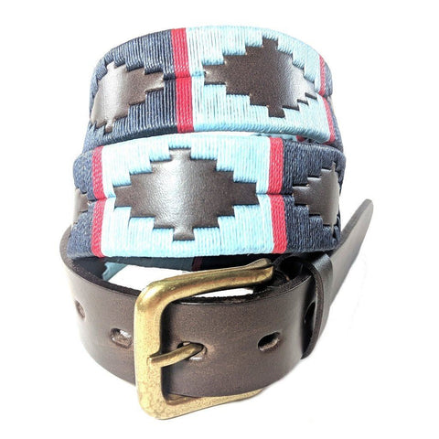 Argentinian embroidered bridle leather Polo belt in brown leather with navy, pale blue & red stripe