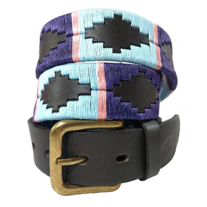 Argentinian embroidered bridle leather Polo belt in brown leather with pale blue, purple & pink stripe