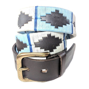 Argentinian embroidered bridle leather Polo belt in brown leather with pale blue, white & blue stripe