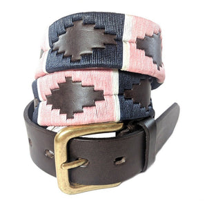 Argentinian embroidered bridle leather Polo belt in brown leather with pink, navy & white stripe