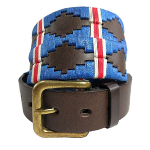 Argentinian embroidered bridle leather Polo belt in brown leather with royal double stripe - blue, red, white