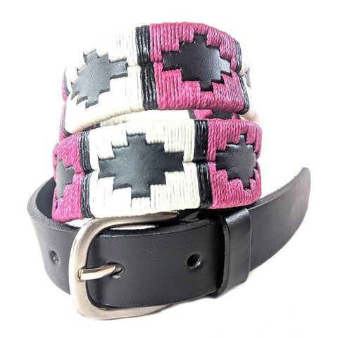 Narrow Argentinian embroidered bridle leather Polo belt in black leather with berry, white & black stripe