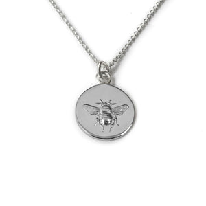 Sterling silver busy bee pendant on an 18 inch sterling silver chain