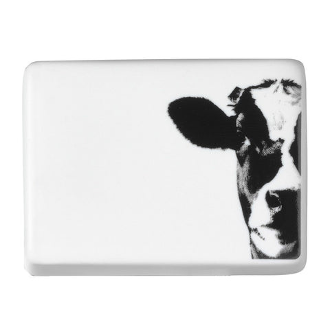 Image of Large porcelain butter dish by räder with cow face decal - top view