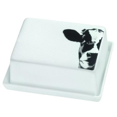Image of Large porcelain butter dish by räder with cow face decal with lid on