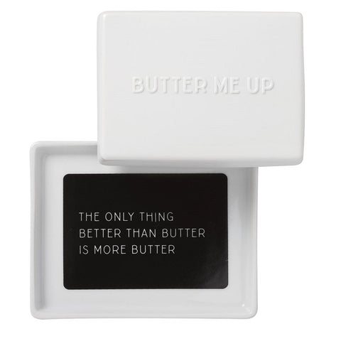 Large porcelain butter dish by räder with butter me up decal - open