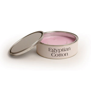 Egyptian cotton fragrance scented triple wick candle tin with 15 hour burn time