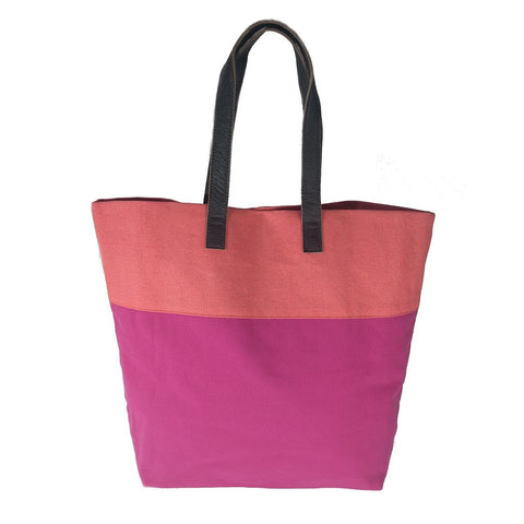 Image of Bright handmade canvas shopper bag in orange & fuchsia with comfortable leather handle
