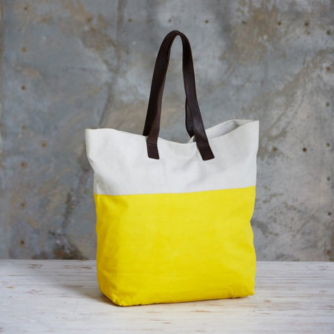 Bright handmade canvas shopper bag in yellow & mushroom with comfortable leather handle