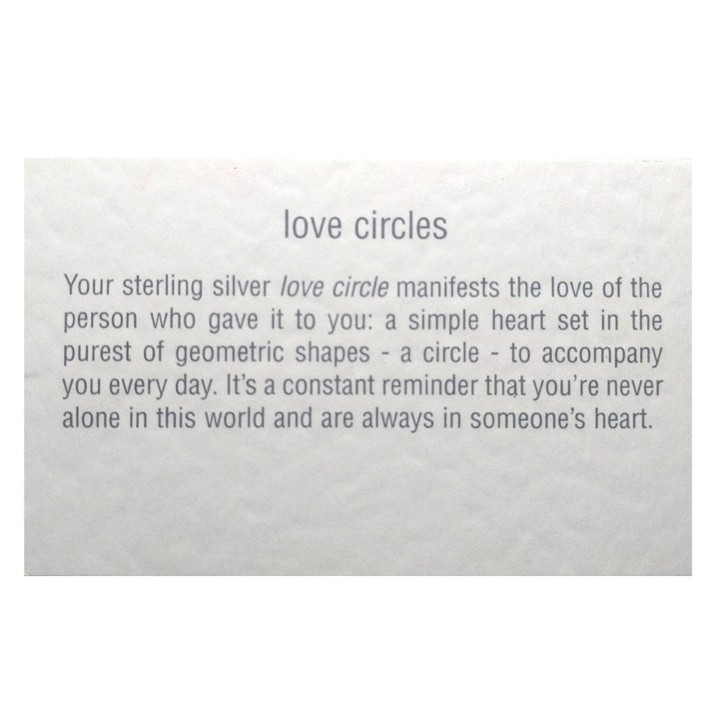 Love circle stud earrings with rose gold hearts and bespoke story card