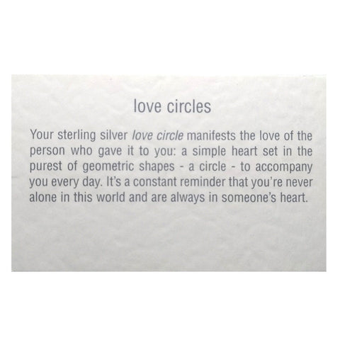 Love circle bracelets with gold, rose gold or silver hearts and bespoke story cards