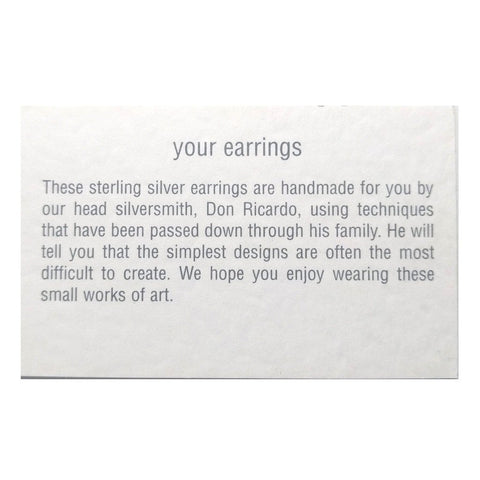 Small sterling silver sphere hook earrings with a bespoke story card