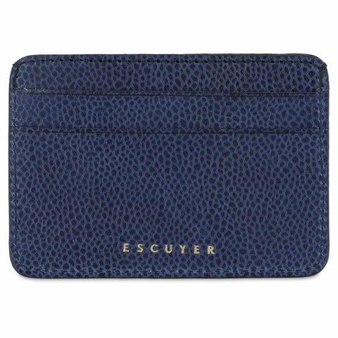 Handcrafted Grained Blue Leather Cardholder - Front