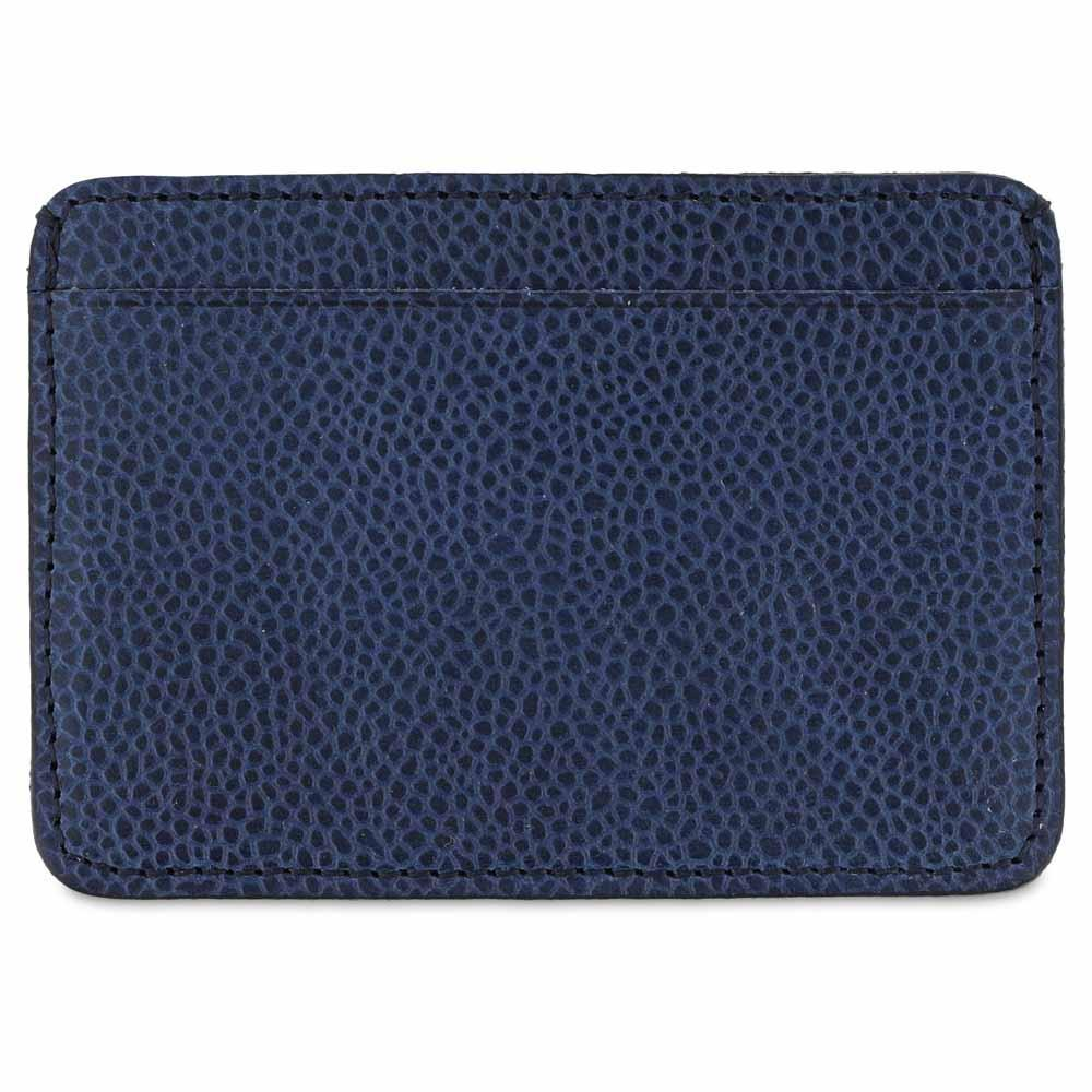 Handcrafted Grained Blue Leather Cardholder - Rear