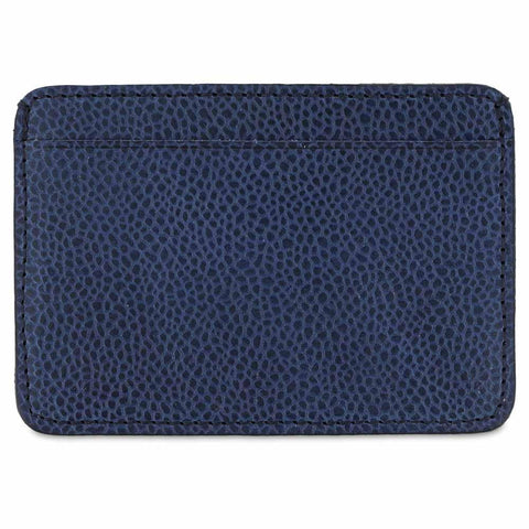 Image of  Handcrafted Grained Blue Leather Cardholder - Rear