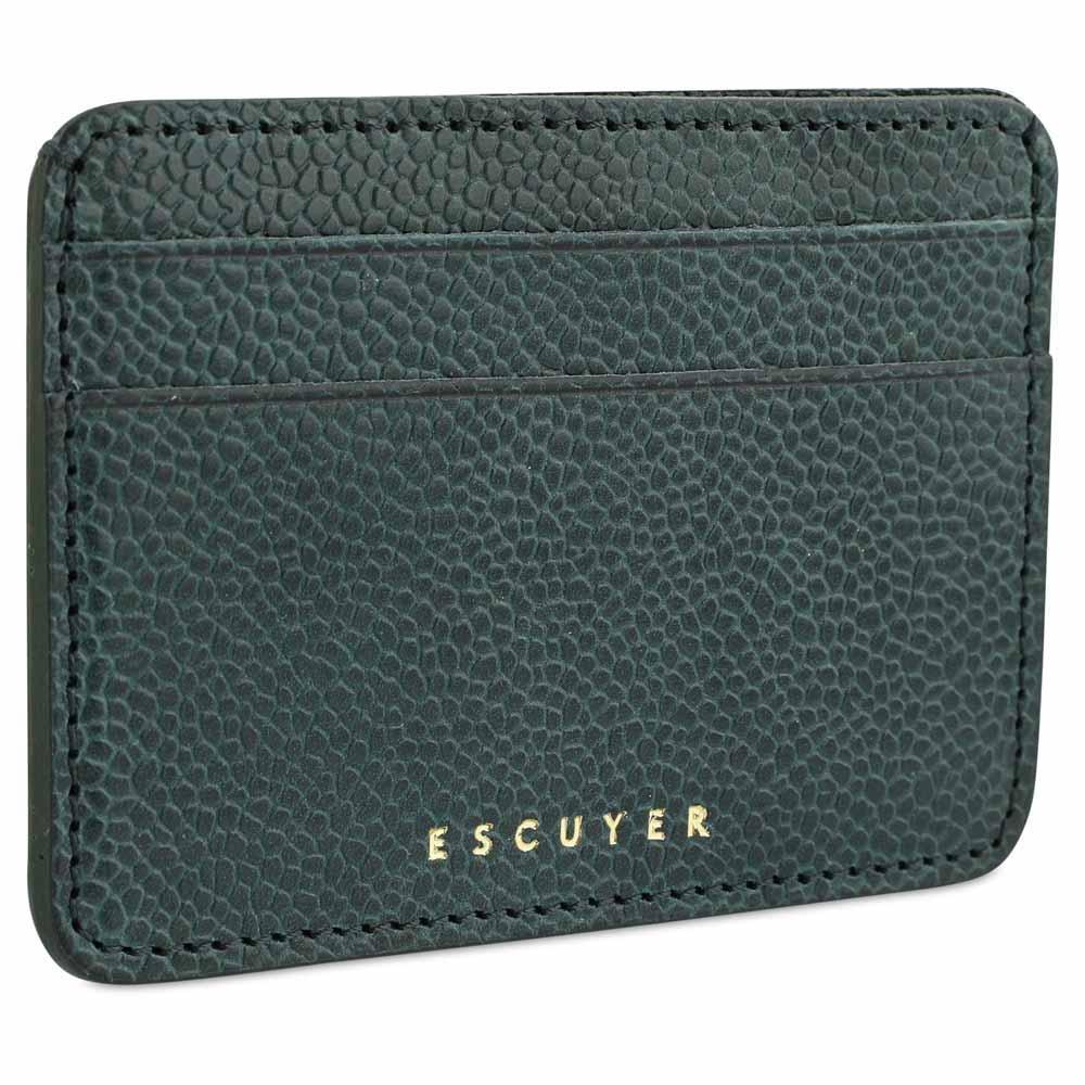 Handcrafted Grained Green Leather Cardholder