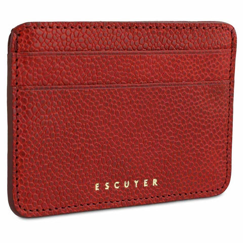Handcrafted Grained Red Leather Cardholder