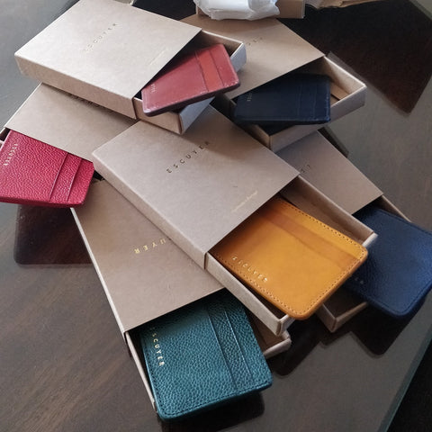 Image of Handcrafted Leather cardholder - selection in boxes