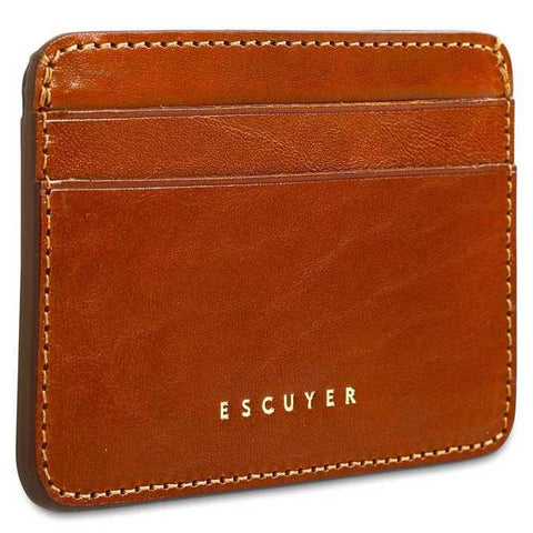 Image of  Handcrafted Smooth Cognac Leather Cardholder