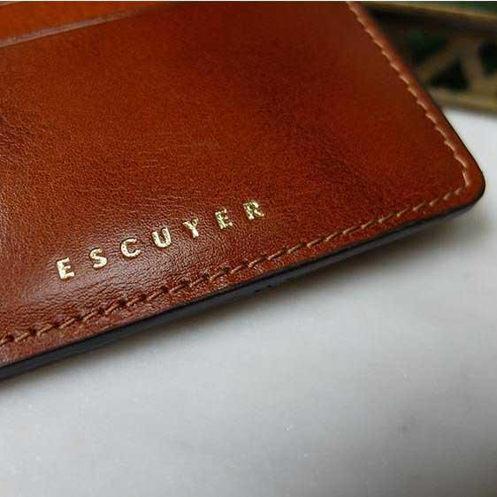 Handcrafted Smooth Cognac Leather Cardholder - Logo