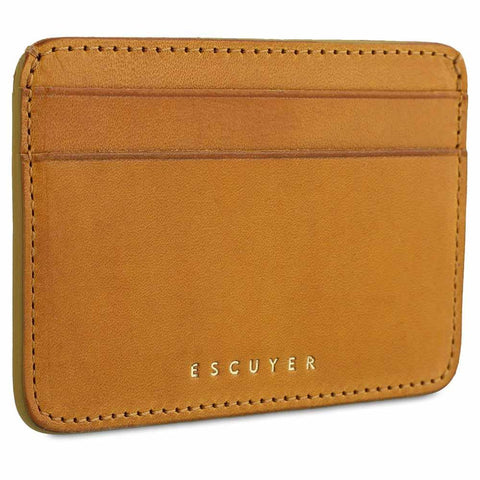 Handcrafted Smooth Mustard Leather Cardholder