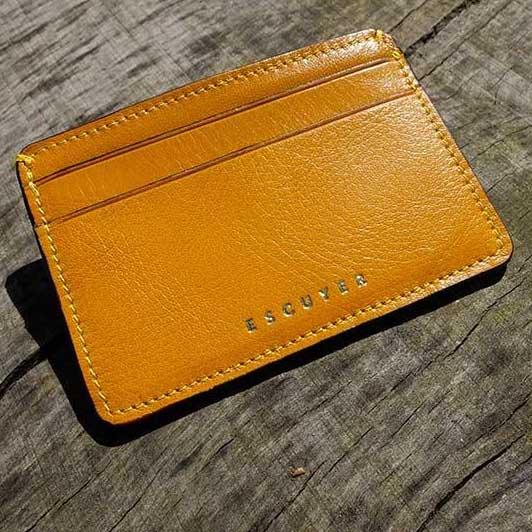 Handcrafted Smooth Mustard Leather Cardholder On Table