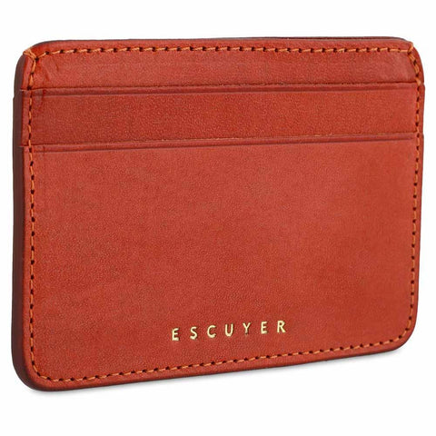 Handcrafted Smooth Orange Leather Cardholder