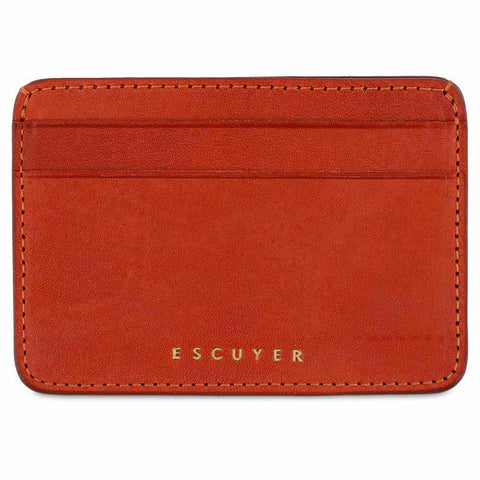 Handcrafted Smooth Orange Leather Cardholder - Front
