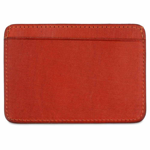 Handcrafted Smooth Orange Leather Cardholder - Rear