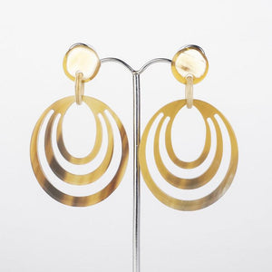 Water buffalo light brown horn 3 circle hoop earrings on posts