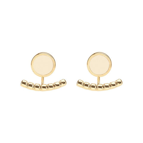 Image of  Comet Two Part Enamel Stud Earrings in Sand White