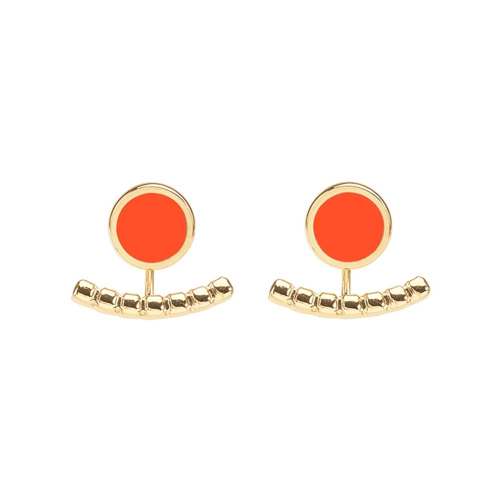 Comet Two Part Enamel Stud Earrings in Tangerine