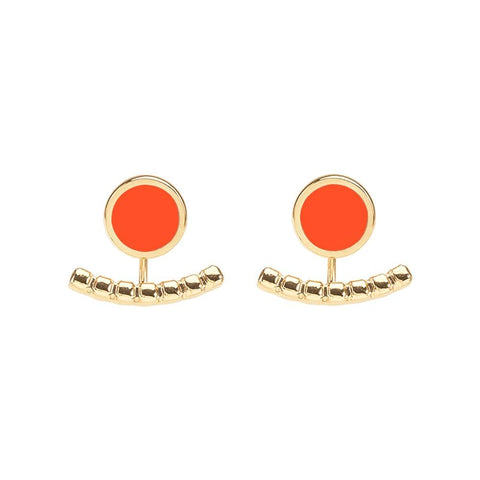 Image of  Comet Two Part Enamel Stud Earrings in Tangerine