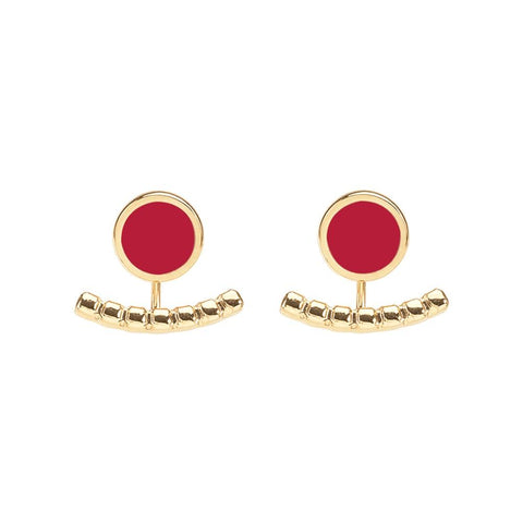 Image of  Comet Two Part Enamel Stud Earrings in Velvet Red