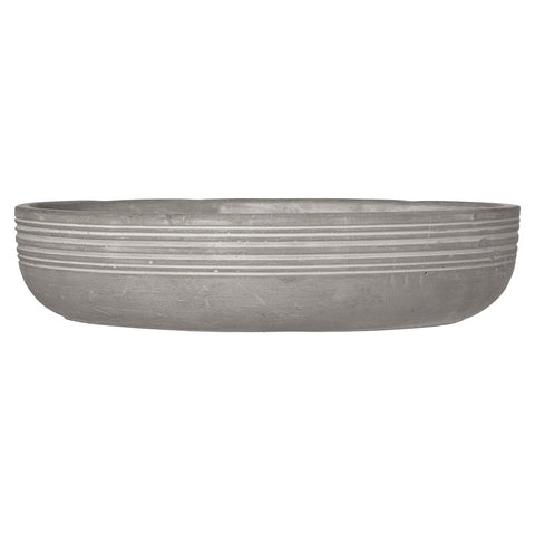 Contemporary concrete bowl with feathers pattern by räder - side view