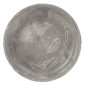 Contemporary concrete bowl with feathers pattern by räder