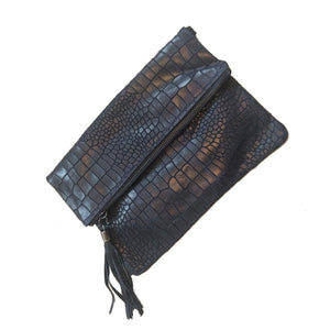 Crocodile hide effect foldover Italian leather clutch bag in navy