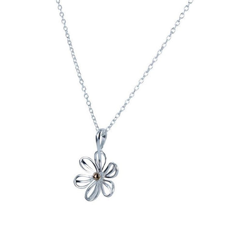 Pretty daisy necklace in sterling silver with gold plated central detail on an adjustable 16 to 18 inch chain