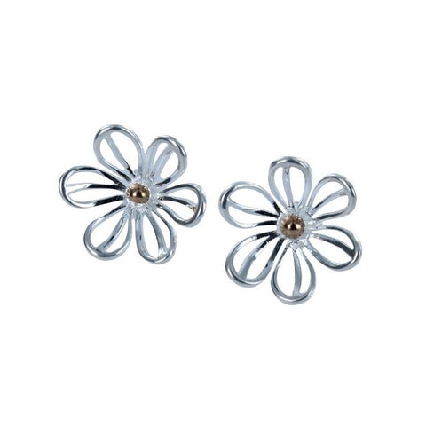 Pretty daisy stud earrings in sterling silver with gold plated central detail