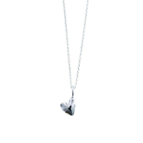 Devotion necklace with a 3D heart shaped charm in sterling silver on a 16 to 18 inch chain