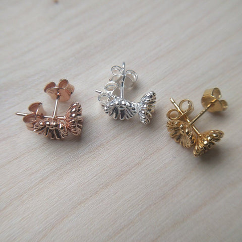 Detailed dainty flower stud earrings selection in sterling silver with silver, gold plate or rose gold plate finish