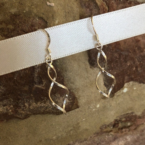 Lightweight sterling silver twist hook earrings