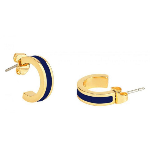 Small Enamel Hoop Earrings in Navy Blue