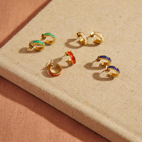 Image of  Small Enamel Hoop Earrings -Selection