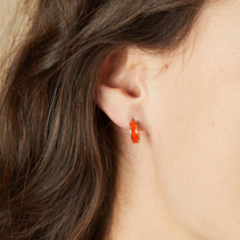 Image of Small Enamel Hoop Earrings