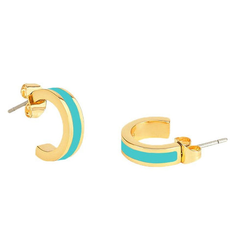 Small Enamel Hoop Earrings in Turquoise