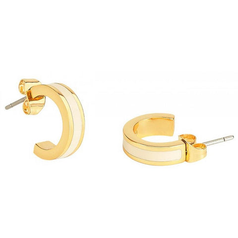 Image of  Small Enamel Hoop Earrings in Sand White